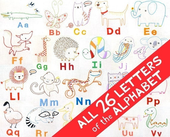 ALL 26 LETTERS Alphabet Animals INSTANT Download pdf embroidery pattern