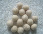 "Hand Wet Felted Round Wool Beads 3/8"" - 1/2"" Creamy White"