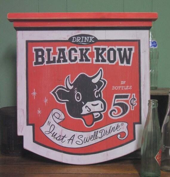 Black Kow Soda vintage looking soda sign antique looking