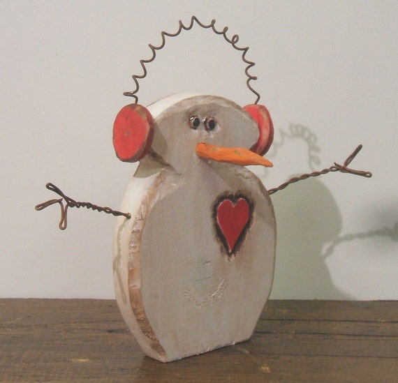 Little Buddy Wood Snowman with Earmuffs