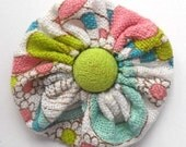Vintage fabric yoyo brooch in white with aqua, lime, and pink with electric yellow/green button
