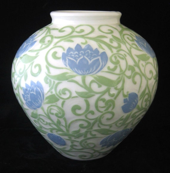 Vase with Swirling Lotus in Periwinkle and Light Green