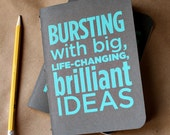 Bursting with Brilliance (Teal) screenprinted idea notebook