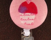 Clip On Retractable Badge Reel / Lanyard with Fabric Covered Button - Pink Cupcake with Heart