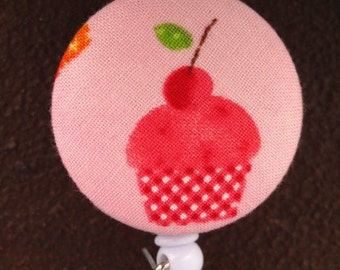 Clip On Retractable Badge Reel / Lanyard with Fabric Covered Button - Cupcake with Cherry on top