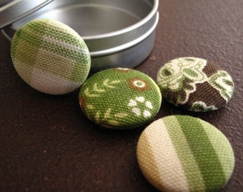 Size 45 or 1 1/8 inch Fabric Covered Button Magnets Green, Brown and Cream