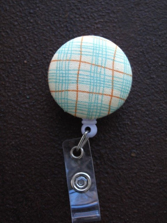 Clip on Retractable Badge Reel with Fabric Covered Button in Turquoise and Orange