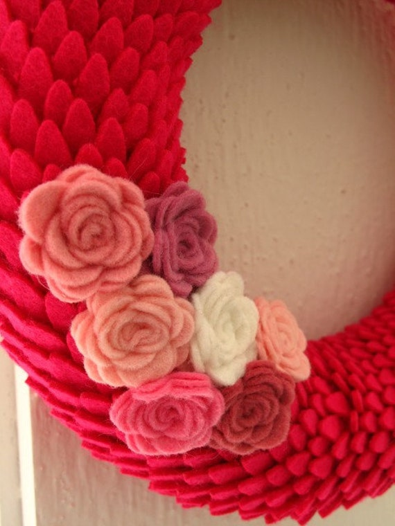 """SALE:  8"""" Pink Scalloped Wreath with Flowers  SALE 50% OFF"""