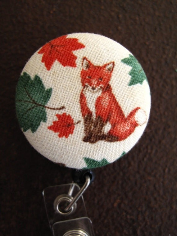 Clip On Retractable Badge Reel / Lanyard with Fabric Covered Button - Red Fox with Leaves