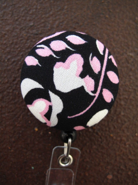 Clip On Retractable Badge Reel / Lanyard with Fabric Covered Button - Pink and White Flowers on Black