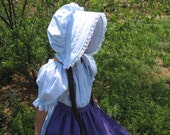 Handmade Girls Blue and Purple Pioneer Dress Bonnet and Apron Set child size 7 to 8