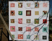 Handmade Fussy Cut Oversized Lap Quilt with Heavy Free Motion Machine Quilting