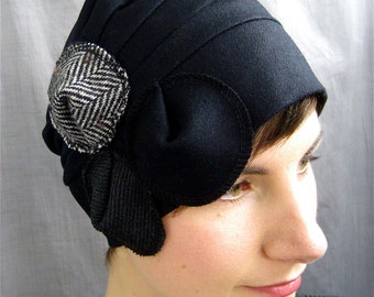 wool black circles cloche - on sale - ships tomorrow