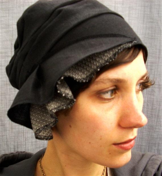 cloche - black linen - on sale