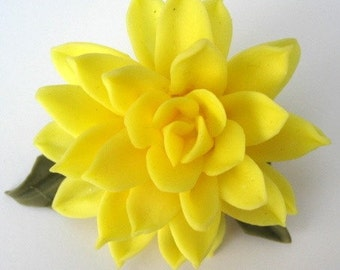 Bright Yellow Cold Porcelain Dahlia Pin