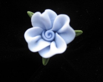 Blue floral  Cold Porcelain Adjustable Ring