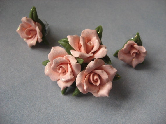 Peach Cold Porcelain Pin and Earring Set