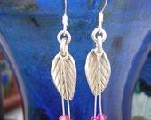 Silver leaf and fuschia Swarovski