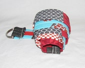 Ladies Fabric Belt Red Black & Turquoise Patchwork S/M