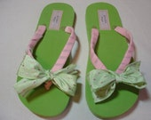 Pink and Green Ribbon Flip Flops with Bow size 9-10