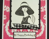 The Audrey Card.  HAPPY BIRTHDAY. The Tres Chic Papier Collection.
