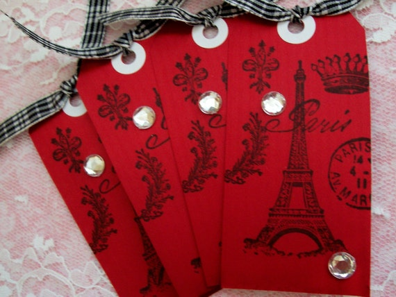 PARISIAN CHIC RED Handmade Gift\/Hang Tags. Set of 4. The Tres Chic Papier Collection.VALENTINE EDITION\/VALENTINES DAY