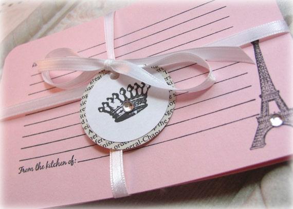 Paris Recipe Cards in Light Pink. Set of 6. Handmade. Bridal Shower. Eiffel Tower, Fleur de Lis...