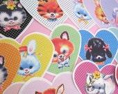 "2"" Cute Vintage Animal Heart Stickers Set"