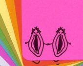 Best Friends Vagina and Vagina stationery set of 10 with envelopes
