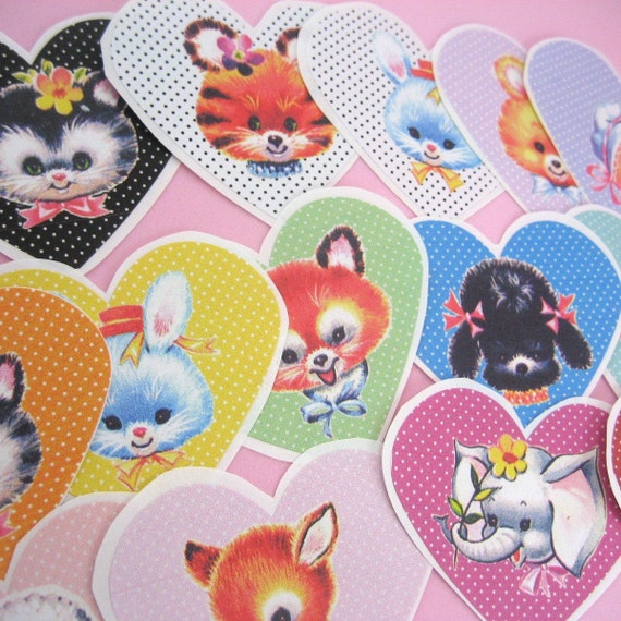 Cute Vintage Animal Heart Stickers Set