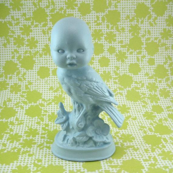 SiDeShOw Bird BoY wide awake Ceramic Taxidermy