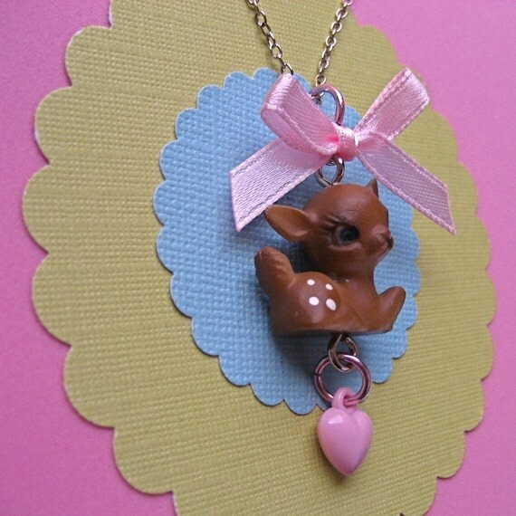 vintage deer fawn kitschy kawaii cute necklace with bow and heart