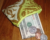 Small Coin Zip Pouch Green Damask Sale Flawed