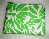 Small Coin Zip Pouch Green Floral Sale Flawed