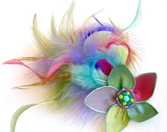 SALE Fluffy Fun - feather flower fascinator