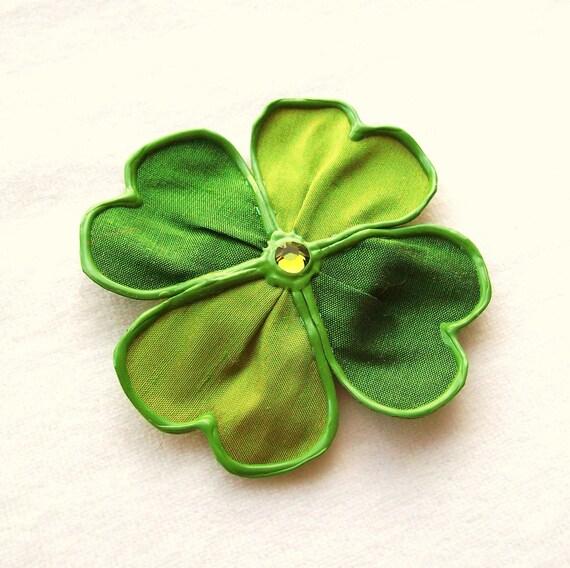 Lil' Bit More Luck - large fabric shamrock brooch
