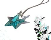 Antique Green Swarovski Crystal Star Sterling Silver Necklace