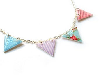 Bunting Necklace Resin Plastic Summer Pastels Pennant Flag