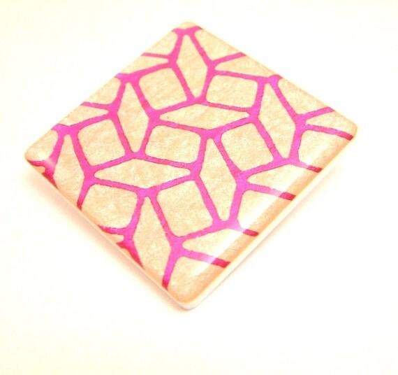 Resin Acrylic Pink Geometric Pattern Brooch Pin Foil