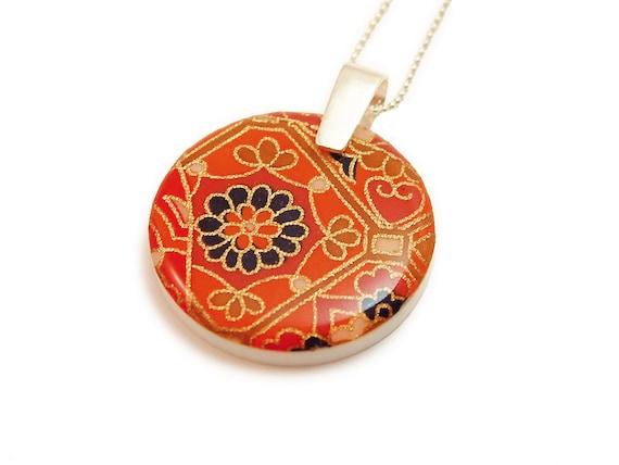 Resin Necklace Pendant Orange Moroccan Floral Kasbah