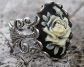 Black Rose Cameo Ring