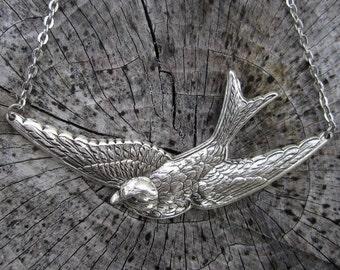 Bird in Flight- Antiqued Silver
