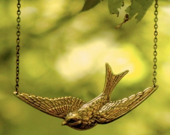 Bird in Flight Necklace- Brass