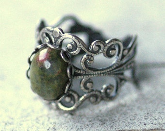 Unakite and Silver Ring