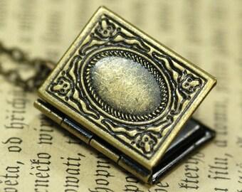 Book Locket - Antiqued Brass