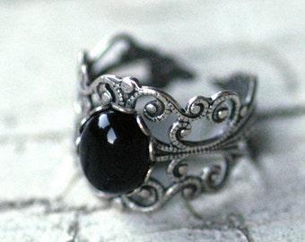 Filigree Ring - Black Onyx Stone in Silver 10x8mm