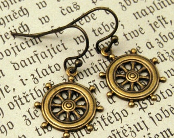Brass Ship Wheel Earrings
