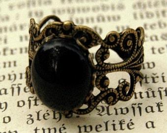 Filigree Ring - Black Onyx Stone in Brass 12x10mm