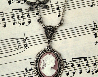 Pink Victorian Lady Cameo Necklace
