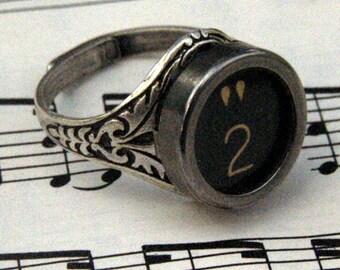 Vintage Typewriter Key Ring - Pick a letter or symbol